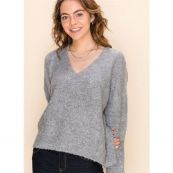 Solid Textured V-Neck Pullover Sweater - Heather Grey