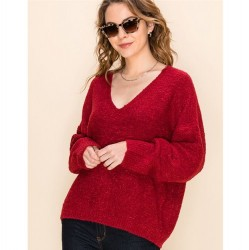 Solid Textured V-Neck Pullover Sweater - Maroon
