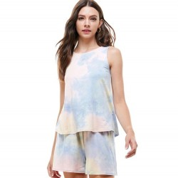 Tie Dye Sleeveless Crewneck Knit Top and Loose Fit Knit Shorts (Sold Separately)