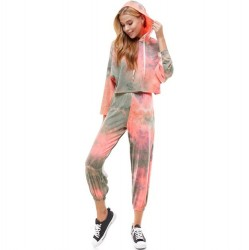 Tie Dye French Terry Hoodie and Jogger Pant (Sold Separately) - Coral/Olive
