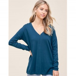 Solid Super Soft V-Neck Pullover Sweater with Center Seam - Teal