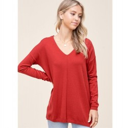 Solid Super Soft V-Neck Pullover Sweater with Center Seam - Rust
