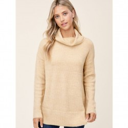 Solid Ribbed Cowl Neck Super Soft Pullover Sweater - Taupe