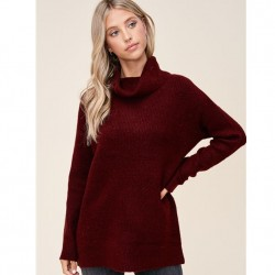 Solid Ribbed Cowl Neck Super Soft Pullover Sweater - Burgundy