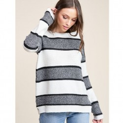 Stripe Long Sleeve Pullover Sweater - Ivory/Charcoal
