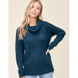 Solid Slouchy Cowl Neck Waffle Textured Pullover Sweater - Teal