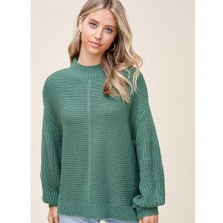 Solid Textured Stitch Mock Neck Pullover Sweater with Balloon Sleeves - Green