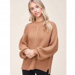 Solid Textured Stitch Mock Neck Pullover Sweater with Balloon Sleeves - Camel