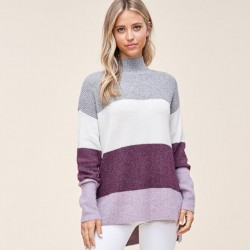 Long Sleeve Wide Color Block Stripe Mock Neck Pullover Sweater - Plum