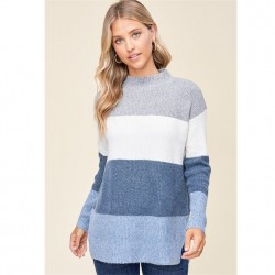 Long Sleeve Wide Color Block Stripe Mock Neck Pullover Sweater - Teal