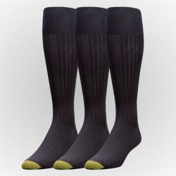 "Gold Toe 3 Pack ""Canturbery Cotton Over The Calf"" Dress Socks #794H - BLACK"