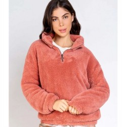PJ Salvage 1/4 Zip Fluffy Pullover - Dusty Rose