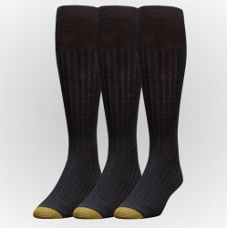 "Gold Toe 3 Pack ""Canterbury Cotton Extended"" Dress Socks #794E - BLACK"
