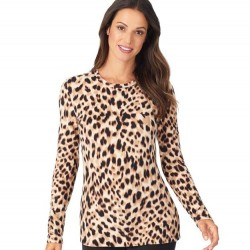 Cuddl Duds Fleecewear with Stretch Top - Brown Animal