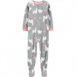 4 to 6X Girls Carters 1 pc Llama Fleece Footie PJs