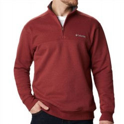 Columbia Half Zip Sueded Fleece Sweatshirt - Red Jasper