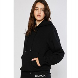 Cozy Brushed Fleece Boyfriend Fit Pullover Hoodie - Black