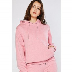 Cozy Brushed Fleece Boyfriend Fit Pullover Hoodie - Strawberry