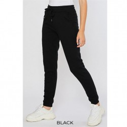 Cozy Brushed Fleece Jogger Pants with Pockets - Black