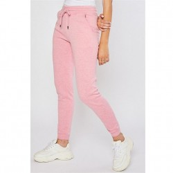 Cozy Brushed Fleece Jogger Pants with Pockets - Strawberry