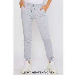 Cozy Brushed Fleece Jogger Pants with Pockets - Heather Grey