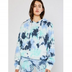 Tie Dye Cozy Brushed Fleece Boyfriend Fit Pullover Hoodie - Navy