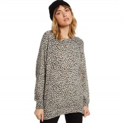 Volcom Leopard Print Relaxed Fit Crewneck Sweater