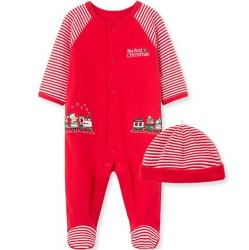Infant Boy Holiday Train One-Piece and Hat