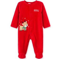 Infant Boy Holiday Reindeer Velour Footed One Piece