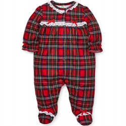 Infant Girl Holiday Plaid Ruffled One-Piece