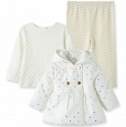 Infant Girl Three Piece White and Gold 3-Piece Jacket Set