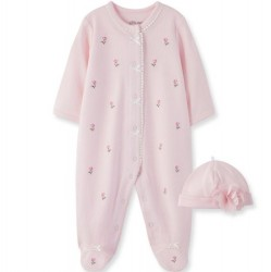 Infant Girl Blossom Rose Footed 1-Piece with Hat