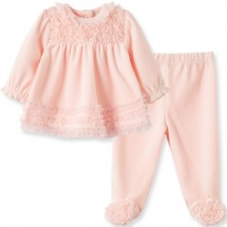 Infant Girl Velour Tunic and Footed Pant Set
