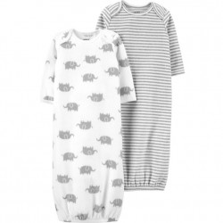 Infant Neutral Carters 2 Pk Grey-White Sleeper Gowns
