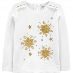 4 to 8 Girls Carters Sequin Star Snowflake Jersey Tee