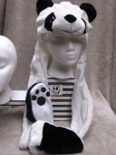 Long White Panda Hat with Mittens