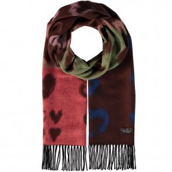 """Cashmink Scarf 14"""" x 80"""" Painted Hearts -  Chocolate"""