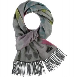 """Cashmink Scarf 14"""" x 80"""" Painted Hearts - Light Grey"""