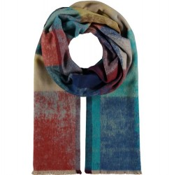 Cashmink Recycled Scarf Distressed Color Block - Green/Brown