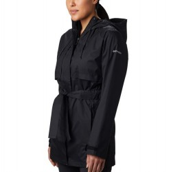 Columbia Pardon My Trench Hooded Rain Coat with Tie Belt - Black