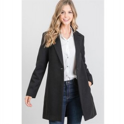 Wool Like Notched Collar Coat with One Button - Black