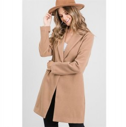 Wool Like Notched Collar Coat with One Button - Camel