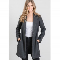 Wool Like Notched Collar Coat with One Button - Charcoal
