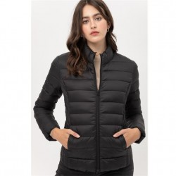 Nylon Padded Zip Front Jacket with Stand Up Collar - Black