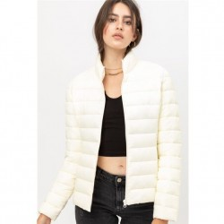 Nylon Padded Zip Front Jacket with Stand Up Collar - Ivory