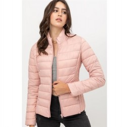 Nylon Padded Zip Front Jacket with Stand Up Collar - Pink