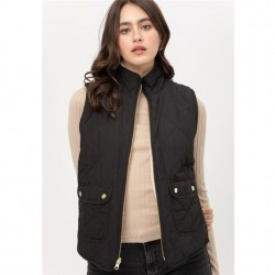 Reversible Quilted Vest with Sherpa Lining - Black