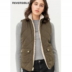 Reversible Quilted Vest with Sherpa Lining - Olive