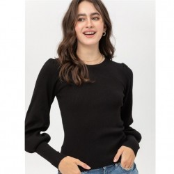 Ribbed Crewneck Sweater with Puff Sleeves - Black