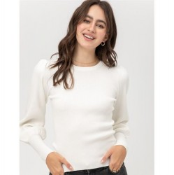 Ribbed Crewneck Sweater with Puff Sleeves - White